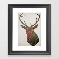 Deer With Quince Framed Art Print