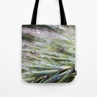 weed Tote Bags featuring dewy weed by Bonnie Jakobsen-Martin
