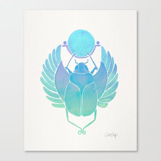 Egyptian Scarab – Turquoise Ombré Canvas Print