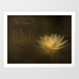 A mystic lotus flower illuminated by the moon in a Chinese garden.. Art Print