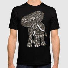 Ornate Elephant Black MEDIUM Mens Fitted Tee