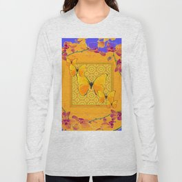 Golden Yellow Butterflies Orchid Sprays Purple Lilac Patterns Long Sleeve T-shirt