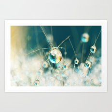 Sea Blue & Sand Cactus Drops Art Print