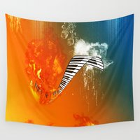 piano Wall Tapestries featuring Piano by nicky2342