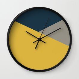 Envelope - Minimalist Geometric Color Block in Light Mustard Yellow, Navy Blue, and Gray Wall Clock