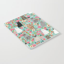 Cats floral mixed breed cat art cute gifts for cat ladies cat lovers pet art Notebook