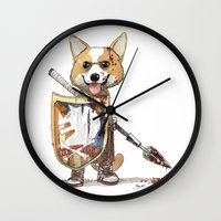 corgi Wall Clocks featuring Corgi Barbare by Bouletcorp