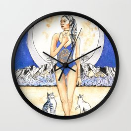 The Moon Tarot Card Hawaiian Goddess Mahina with Cats Wall Clock