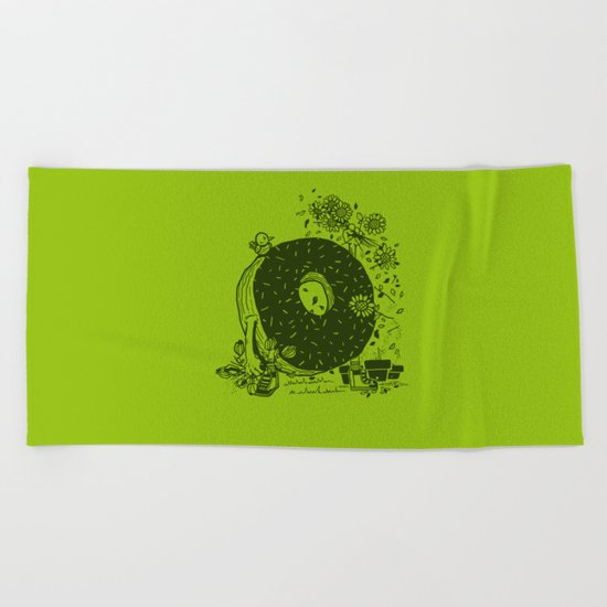 Donut Pick Flowers Beach Towel