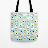 vans Tote Bags featuring Camper Vans by Laura Maria Designs