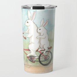 Bunnies on a Bicycle Travel Mug
