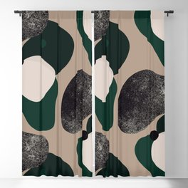 Abstract Clay Shapes Green Black Beige 23, Minimal and Simple Blackout Curtain