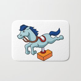 illustration of mechanical horse Bath Mat