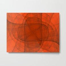 Fractal Eternal Rounded Cross in Red Metal Print