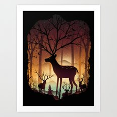 Into Deer Woods Art Print