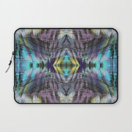 psychedelic geometric symmetry abstract pattern in purple blue yellow Laptop Sleeve