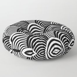 Black and White Art Deco Pattern Floor Pillow