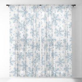Blue snowflakes pattern Sheer Curtain