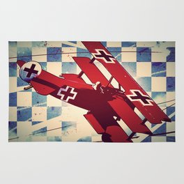 Fokker triplane (Red Baron) Pop Art Rug