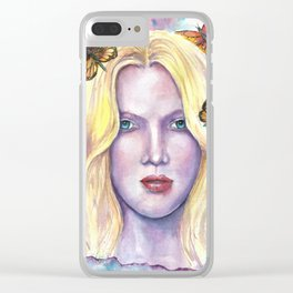 Women face Butterfly abstract print Clear iPhone Case