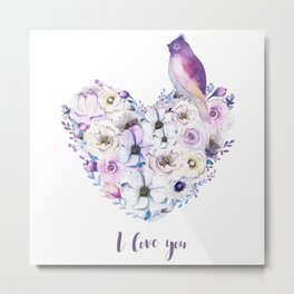 Heart bouquet flowers Metal Print