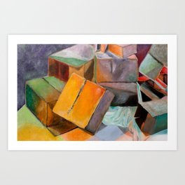 Lights, Canvas, Boxes! Art Print