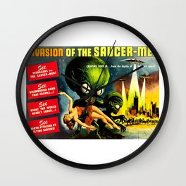 Horror Sci-Fi Movie Vintage Poster - invasion Wall Clock