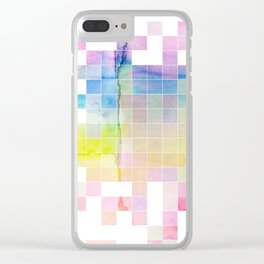 Rainbow Pixels Clear iPhone Case