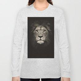 Portrait of a lion king - monochrome photography illustration Long Sleeve T-shirt