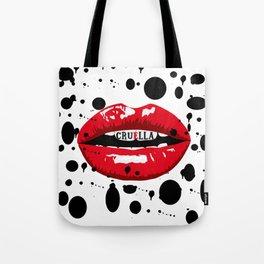 Cruella Villain Spots Red Lips Tote Bag