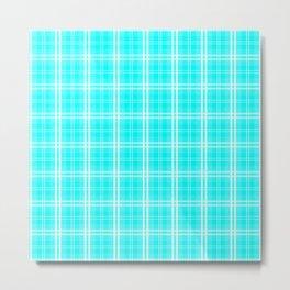 Neon Aqua Blue and White Tartan Plaid Check Metal Print