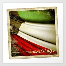 Grunge sticker of Kuwait flag Art Print