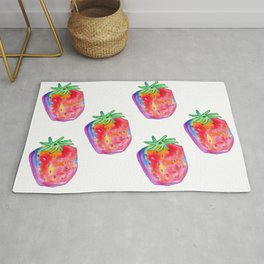 Strawberry pattern Watercolor Painting Food Illustration Nursery Art - Color of Your Life Rug