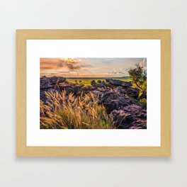 Sunset and Smoke from Controlled Burning at Ubirr Rock, Australia. Framed Art Print