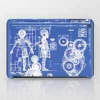 blueprint iPad Cases featuring MY LITTLE SISTER BLUEPRINT by Sofia Youshi