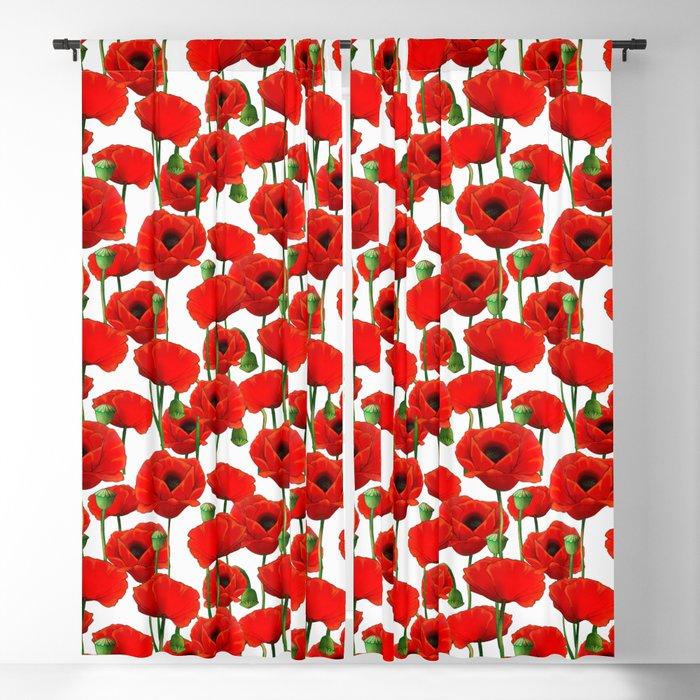 Red Poppy Pattern Blackout Curtain