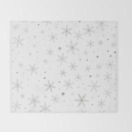 Twinkle Snowflake -Silver Grey & White- Throw Blanket