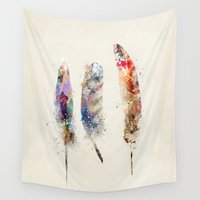 feathers Wall Tapestries featuring feathers by bri.buckley