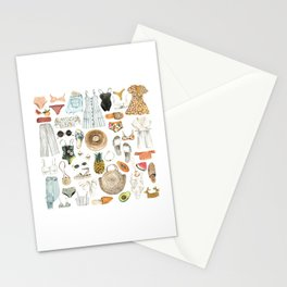 Summer Fashion Outfit Pattern Stationery Cards
