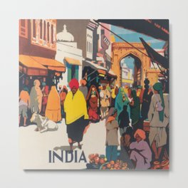 India Vintage Travel Poster Metal Print