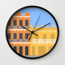 Colored Buildings in Getsemani, Colombia Wall Clock