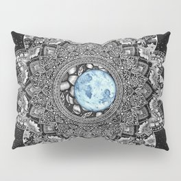 Blue Moon Floral Mandala with Background Pillow Sham