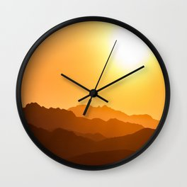 Orange Monochromatic Mountain Landscape Parallax Silhouette Yellow Orange Sunset Hues Wall Clock