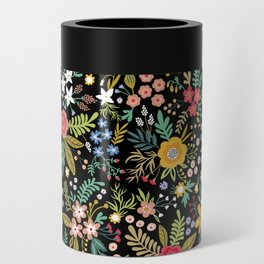 Amazing floral pattern with bright colorful flowers, plants, branches and berries on a black backgro Can Cooler