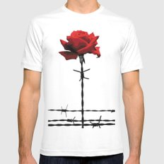 Barbed wire red rose MEDIUM Mens Fitted Tee White