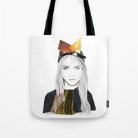 cara delevingne Tote Bags featuring CARA DELEVINGNE by Nora Fikse