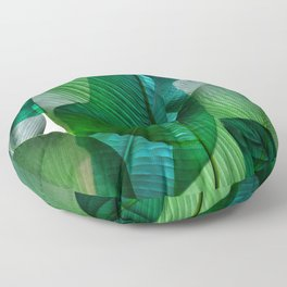 Palm leaf jungle Bali banana palm frond greens Floor Pillow