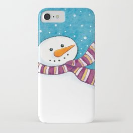 A Friendly Carrot-Nosed Snowman iPhone Case