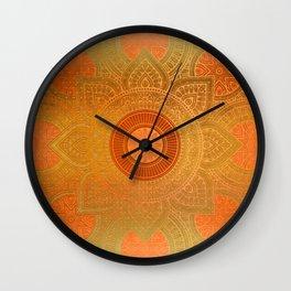 """Savanna Orange-Gold Mandala"" Wall Clock"