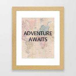 Adventure Awaits Map Print Framed Art Print